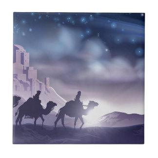 Three Wise Men Nativity Christmas Illustration Tile
