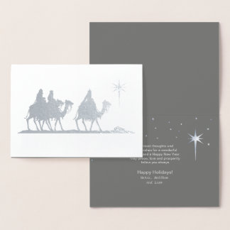 Three Wise Men Silhouette Silver ID424 Foil Card