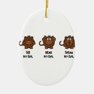 Three Wise Monkeys Ceramic Ornament
