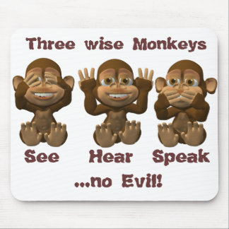 three wise monkeys mouse pad