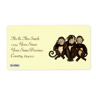 Three Wise Monkeys Shipping Label