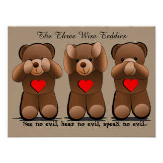 Three Wise Monkeys, Teddy Bear Print
