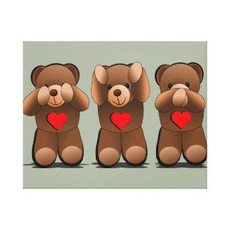 Three Wise monkeys, Teddy Bear Print Stretched Canvas Prints