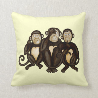 Three Wise Monkeys Throw Pillow