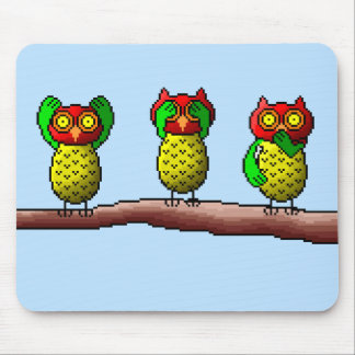 Three wise owls, hear, see & speak no evil mouse pad