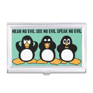 Three Wise Penguins Design Graphic Business Card Holders