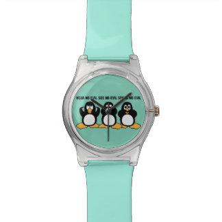 Three Wise Penguins Design Graphic Watch