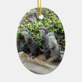 Three Wise Standing Otters, Ceramic Ornament