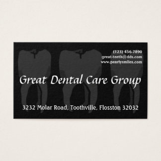 Three Wise Teeth Black Dentist Business Card