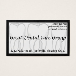 Three Wise Teeth White Dentist Business Card