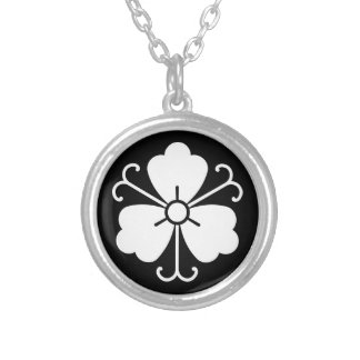 Three wisteria blooms with vines silver plated necklace
