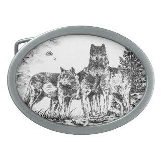 Three Wolves Custom Belt Buckle