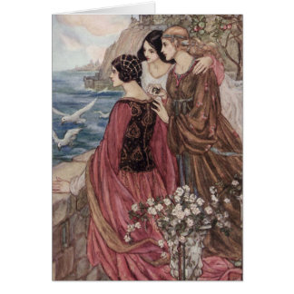 Three Women Looking Out to Sea, Card