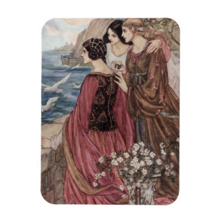 Three Women Looking Out to Sea, Rectangular Photo Magnet