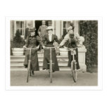 Three women on bicycles, early 1900s (b/w photo) post cards