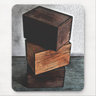 Three Wooden Boxes On Dresser Mouse Pad