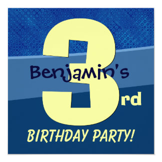 Three Year Old Birthday Blue Pattern For Boy V06B1 Personalized Announcement