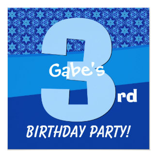 Three Year Old Birthday Blue Pattern For Boy V06B2 Personalized Announcements