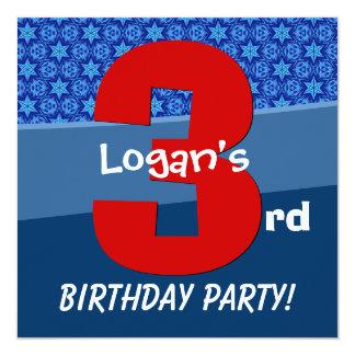 Three Year Old Birthday Blue Pattern For Boy V06B2 Invitation