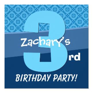 Three Year Old Birthday Blue Pattern For Boy V06B Invitation