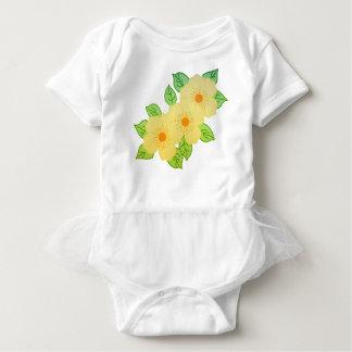 three yellow flowers baby bodysuit