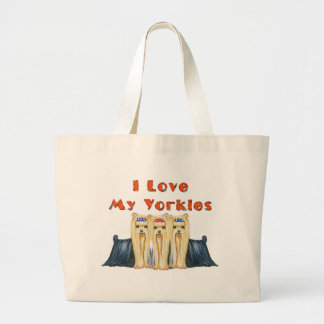 Three Yorkies I Love Large Tote Bag