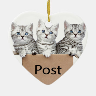 Three young cats in cardboard box on white ceramic heart ornament
