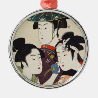 Three young kabuki actors Kitagawa, Utamaro art Silver-Colored Round Ornament