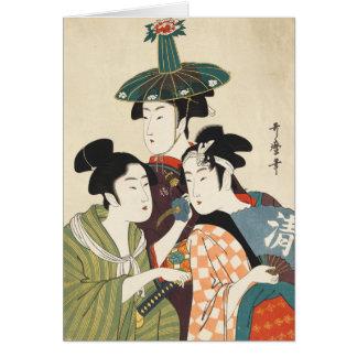 Three young men or women, Utamaro Card