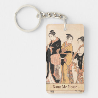 Three Young Women Masquerading as Komuso Keychain