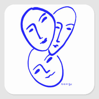 threemasks square sticker