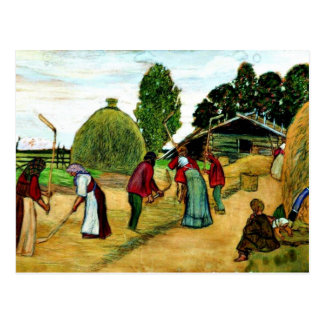 Threshing, painting by Boris Kustodiev Postcard