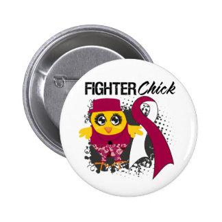 Throat Cancer Fighter Chick Grunge 2 Inch Round Button