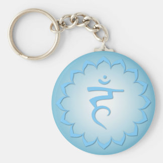 Throat Chakra - Light Blue Basic Round Button Keychain