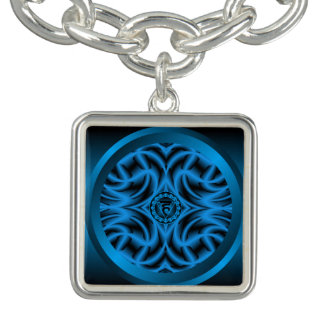 Throat Chakra Mandala Charm Bracelet