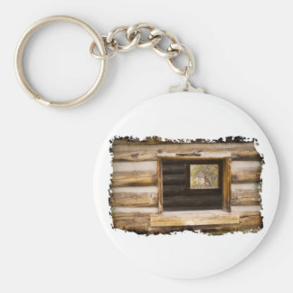 Through and Through Cabin Window Basic Round Button Keychain