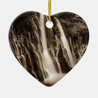 Through the Cracks Burney Falls Ceramic Heart Ornament