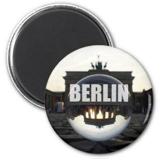 Through the crystal ball, Brandenburg gate 2 Inch Round Magnet