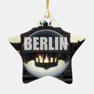 Through the crystal ball, Brandenburg gate Ceramic Ornament