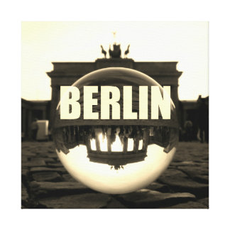 Through the crystal ball, Brandenburg gate, sepia Canvas Print