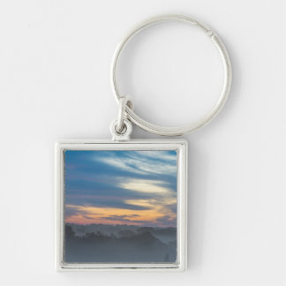 Through The Fog Silver-Colored Square Keychain