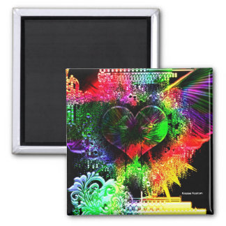 Through The Heart 5 Square Magnet