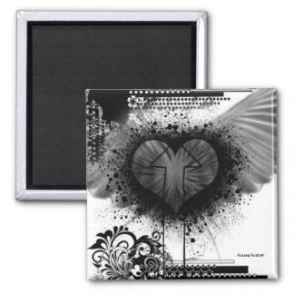 Through The Heart Square Magnet