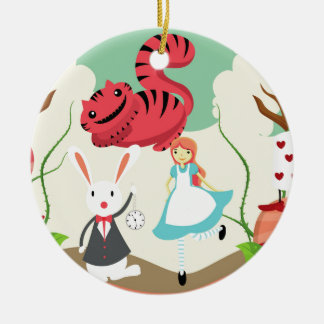 Through The Looking Glass Round Ceramic Ornament
