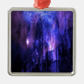 Through the Mists of Time Silver-Colored Square Ornament