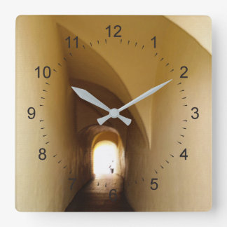 through the tunnel square wall clock