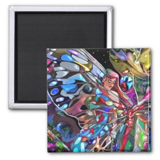 Through the wings of a butterfly! square magnet