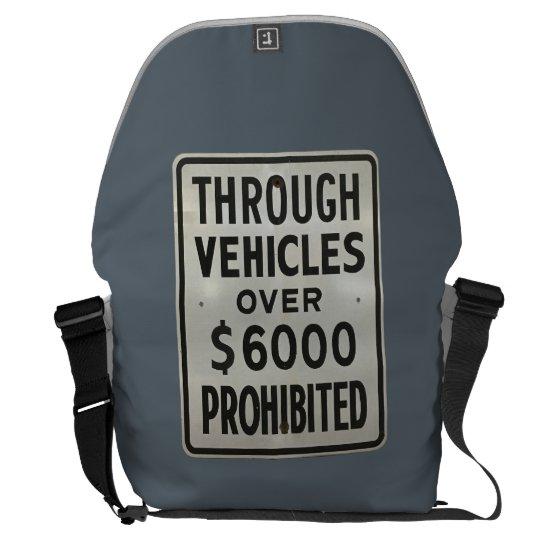 through vehicles prohibited messenger bag