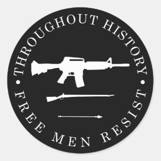 Throughout History, Free Men Resist Round Sticker