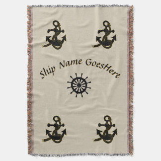Throw Blanket - Ship Name with Anchors and Helm